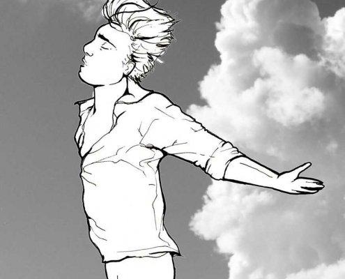 Denk-wijzer wolken staande jongen