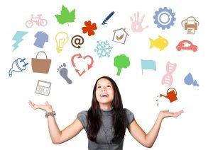 goede vraag stellen vrouw keuze symbolen 1