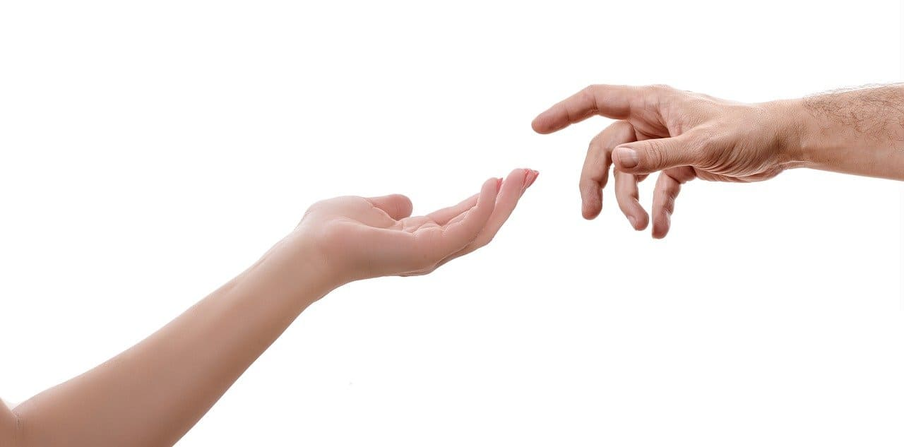 hand-man-vrouw-aanraking-paradox